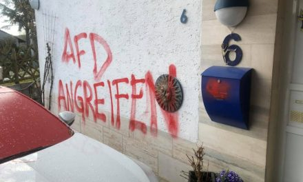 Scheibenbruch und Farbe bei AfDlerin