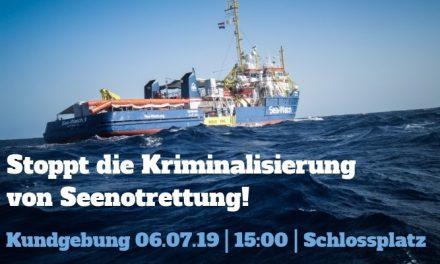 Kundgebung am Samstag: Stoppt die Kriminalisierung von Seenotrettung