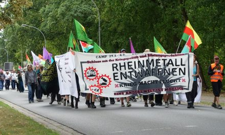 Rheinmetall entwaffnen Camp 2019 – Mobi-Video mit Antikriegs Theater