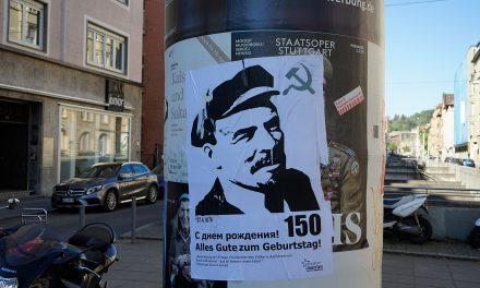 Plakataktion zu Lenins 150 Geburtstag
