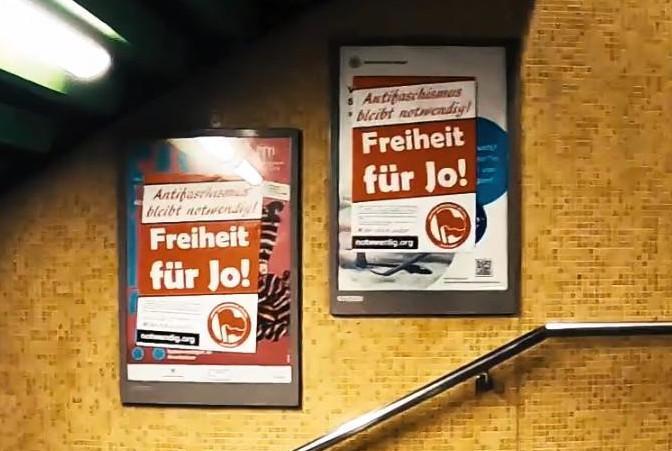 Plakataktion: Freiheit für die Inhaftierten Antifas